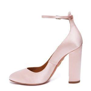 Pink satin platforms